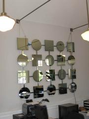 mirror colage on nickel plated steel grid