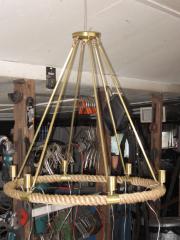 rope chandelier w custom brass fittings