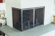 hinged firescreen and andirons