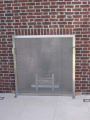 stainless steel outdoor fireplace screen and log grate