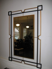 steel and brass mirror