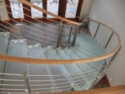stainless steel rod and mahoghany handrail staircase and walkover